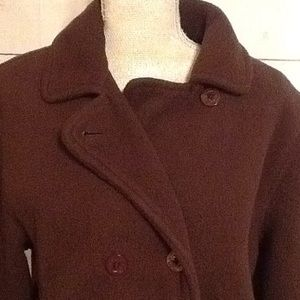 L.L. Bean Jackets & Coats - LLBean Med Ladies Brown Fleece Pea Coat